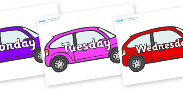 Days of the Week on Cars - Days of the Week, Weeks poster, week, display, poster, frieze, Days, Day, Monday, Tuesday, Wednesday, Thursday, Friday, Saturday, Sunday