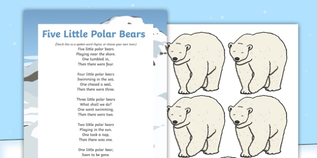 5 Little Polar Bears Rhyme - winter, arctic, Antarctic, polar, polar bears, rhyme
