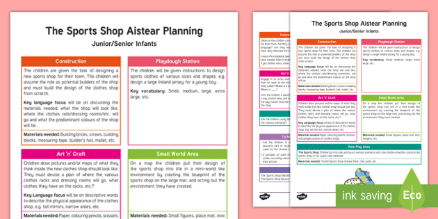 Aistear The Sports Shop Planning Template