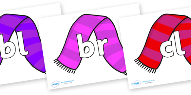 Initial Letter Blends on Scarves - Initial Letters, initial letter, letter blend, letter blends, consonant, consonants, digraph, trigraph, literacy, alphabet, letters, foundation stage literacy