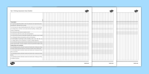 2014 Curriculum Year 2 English Writing Assessment Class Checklist