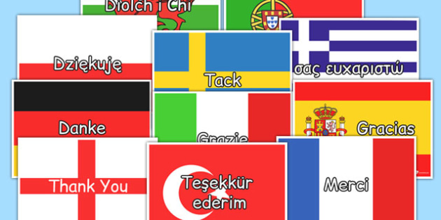 Mixed Languages Thank You on Flags - language, thank you, flags
