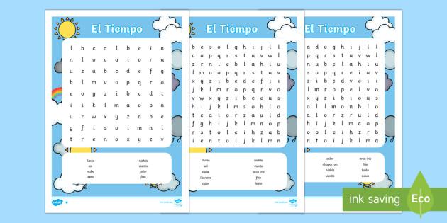 El tiempo Sopa de letras - El tiempo y las estaciones del año, proyecto, decoración de la clase, palabras, vocabulario,Spanis