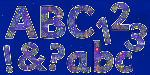 Fireworks Themed Display Lettering - fireworks, display lettering, display, lettering
