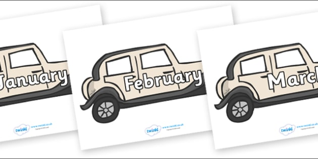 Months of the Year on Wedding Cars - Months of the Year, Months poster, Months display, display, poster, frieze, Months, month, January, February, March, April, May, June, July, August, September