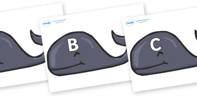 A-Z Alphabet on Whales - A-Z, A4, display, Alphabet frieze, Display letters, Letter posters, A-Z letters, Alphabet flashcards
