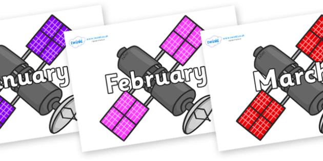 Months of the Year on Satellites - Months of the Year, Months poster, Months display, display, poster, frieze, Months, month, January, February, March, April, May, June, July, August, September