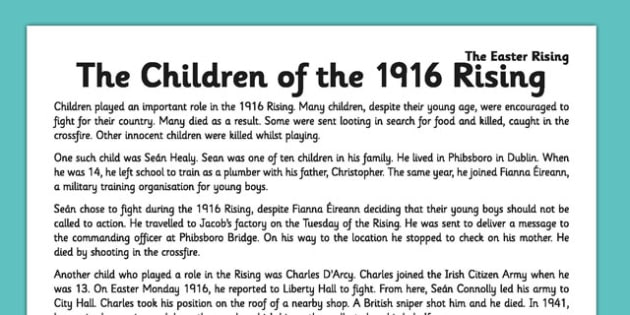 Children of the 1916 Rising Comprehension Activity Sheet - 1916 rising, easter rising, comprehension, ireland, roi, children, worksheet