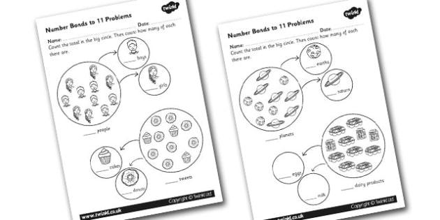 Number Bonds to 11 Problems Worksheet - numbers, bond, worksheet