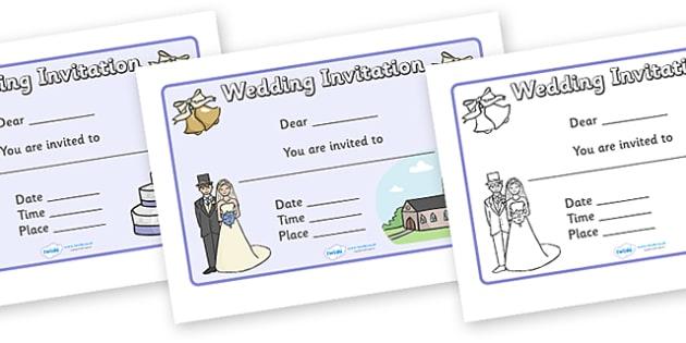 Design a Wedding Invitation - Wedding, Weddings, fine motor skills, colouring, designing, activity, marriage, bride, groom, church, priest, vicar, dress, cake, ring, rings, bridesmaid, flowers, bouquet, reception, love