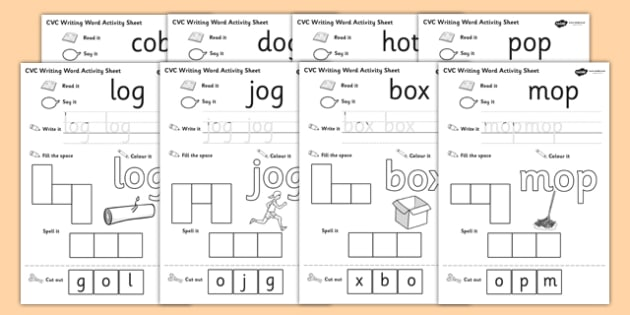 CVC Writing Word Activity Sheet Pack O - CVC, writing, word activity, sheets, activity sheets, reading and writing, colouring, vowels, O, worksheet