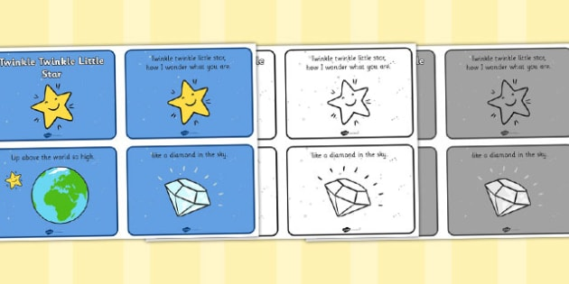 Twinkle Twinkle Little Star Sequencing (4 per A4) - Twinkle, Twinkle, Little Star, sequencing, nursery rhyme, rhyme, rhyming, nursery rhyme story, nursery rhymes, space, Twinkle Twinkle Little Star resources