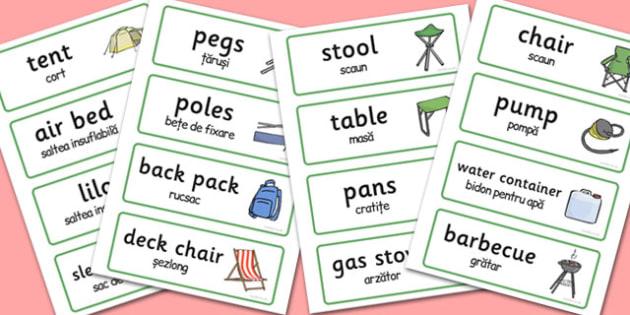 Campsite Word Cards Romanian Translation - romanian, campsite
