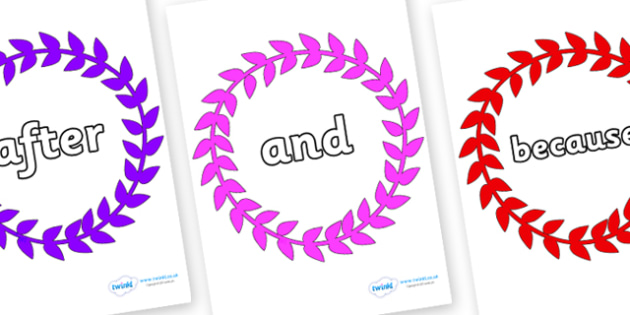 Connectives on Wreaths - Connectives, VCOP, connective resources, connectives display words, connective displays