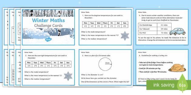 Y6 Winter Themed Maths Challenge Cards - Winter 2016/17, maths challenge cards, maths, winter maths, christmas maths, Year 6 maths, Y6 maths,