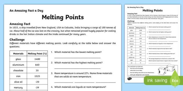 Melting Points Activity Sheet, worksheet
