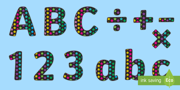 Funky Black and Multicoloured Stars Display Lettering Pack -  stars, letters, lettering, display, board