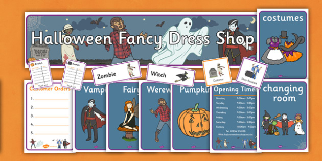 Halloween Fancy Dress Shop Role Play Pack - halloween, fancy dress, role play, role play pack, fancy dress role play, resource pack, pack of resources