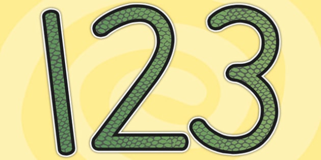 Snake Skin Themed Display Numbers - numbers, display numbers