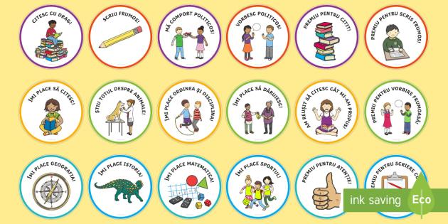 Munca e răsplătită Insigne - insigne, recompense, scris, citit, colorate, citesc, scriu, comportament, romanian, resources, mater
