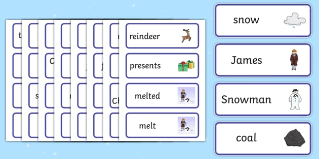 Word Cards to Support Teaching on The Snowman - word cards, words, cards, key words, the snowman, book, childrens book, story, the snowman story, snowman word cards, flashcards, literacy, words on cards