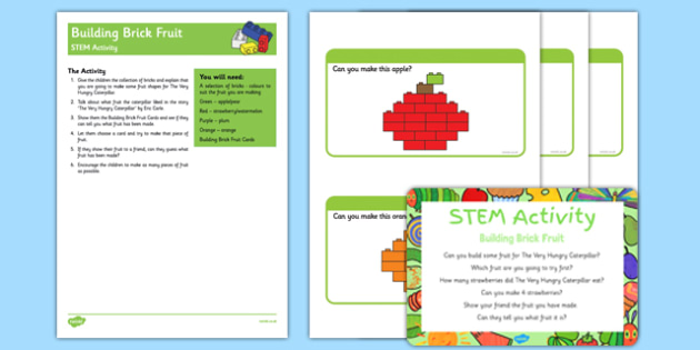 Building Brick Fruit STEM Activity and Prompt Card Pack to Support Teaching Teaching on The Very HUngry Caterpillar - Butterfly, life cycle, minibeasts, creepy crawlies, bugs, EYFS, science, technology, mathematics, engineering, early years, building