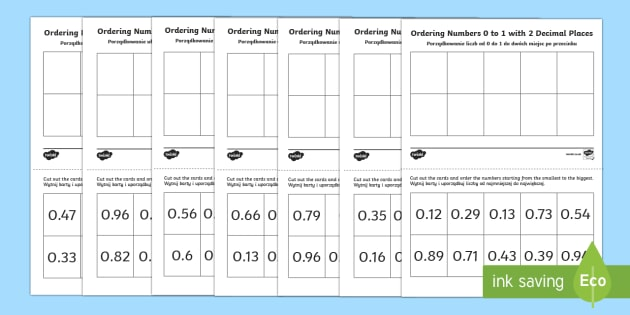 Ordering Decimal Numbers 0 to 1 with 2 Decimal Places Activity English/Polish - Ordering Sheets, decimal fractions, decimals, order, 2 decimal places,Polish-translation