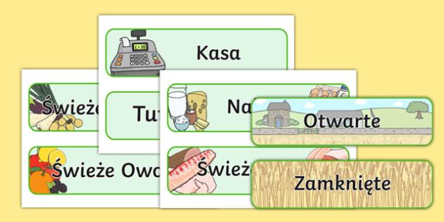 Znaki Sklep ekologiczny po polsku