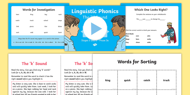 Northern Ireland Linguistic Phonics Stage 5 and 6 Phase 3a, 'k' Sound PowerPoint  - NI, sound search, word sort, investigation