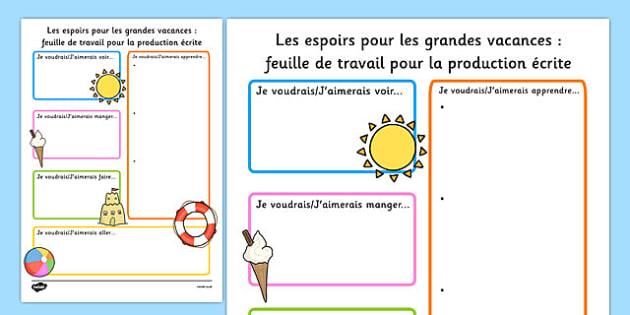 Summer Holiday Hopes Write-Up Worksheet French - french, seasons, writing sheet