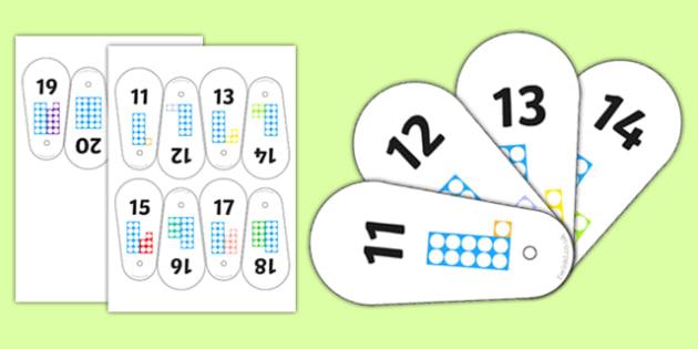 Number Shape Fan 11-20 - number shape, fan, 11-20, number, shape, maths, mathematics, numbers