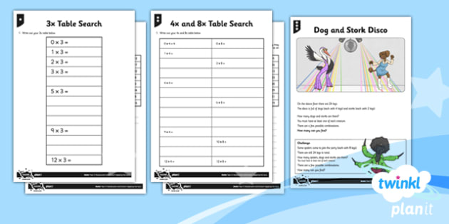PlanIt Y3 Multiplication and Division Recall and Use Multiplication and Division Facts Home Learning Tasks - homework, tables, multiplication facts, recall multiplication, differentiated activity