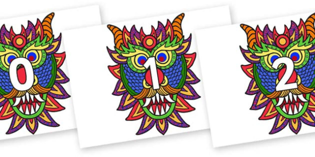 Numbers 0-100 on Chinese New Year Dragon Mask - 0-100, foundation stage numeracy, Number recognition, Number flashcards, counting, number frieze, Display numbers, number posters