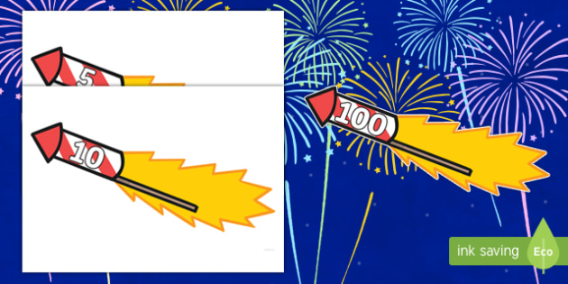 Counting in 5s to 100 on Firework Rockets Cut-Outs