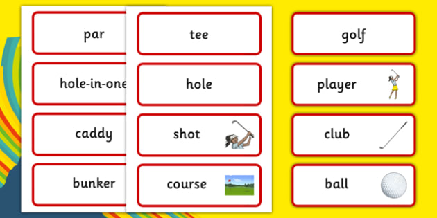Rio 2016 Olympics Golf Word Cards - rio 2016, 2016 olympics, rio olympics, golf, word cards