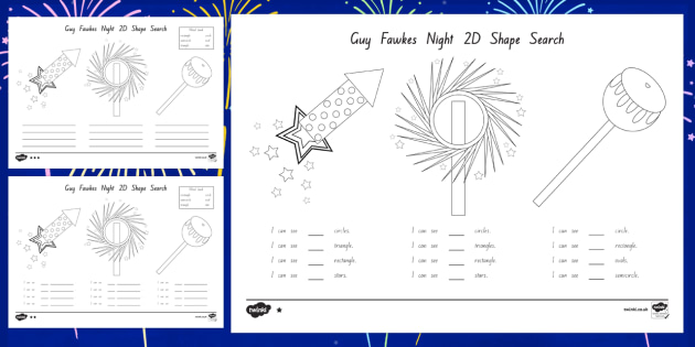 Guy Fawkes Night 2D Shape Search Activity Sheet