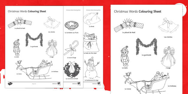 French Christmas Words Colouring Sheet