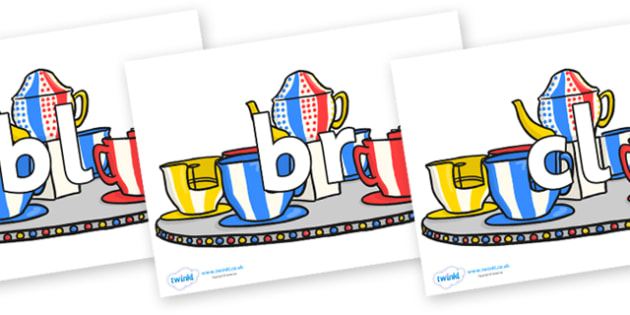 Initial Letter Blends on Fairground Teacups - Initial Letters, initial letter, letter blend, letter blends, consonant, consonants, digraph, trigraph, literacy, alphabet, letters, foundation stage literacy