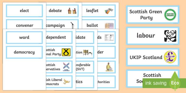Scottish Local Elections 2017 Word Cards-Scottish - Requests CfE, word cards, Scottish Elections 2017, Local Election, Scottish politics, display, elect