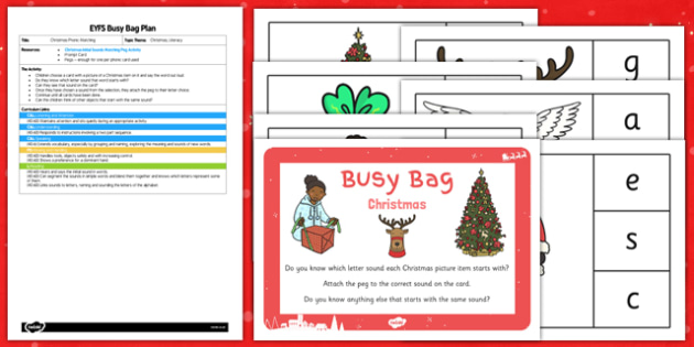 Christmas Phonic Matching EYFS Busy Bag Plan and Resource Pack - christmas, phonic, matching, busy bag