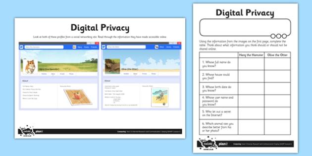 Digital Privacy - computing, ict, lesson, activity, digital privacy, digital, privacy