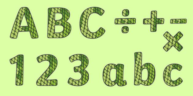 Display Lettering & Symbols (Reptile Skin) - Display lettering, reptile, skin, display letters, alphabet display, letters to cut out, letters for displays, coloured letters, coloured display, coloured alphabet