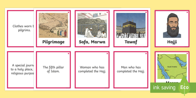 Differentiated Hajj Vocabulary and Definition Matching Cards - Pilgrimages, Hajj, Muslim, Mecca, Islam, pilgrims, game, matching, snap, pairs, Muslim, Muslims, rel