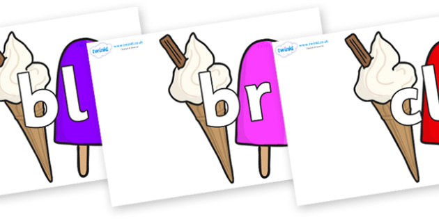 Initial Letter Blends on Ice Cream and Lollies - Initial Letters, initial letter, letter blend, letter blends, consonant, consonants, digraph, trigraph, literacy, alphabet, letters, foundation stage literacy