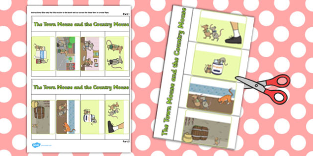 The Town Mouse and the Country Mouse Story Writing Flap Book
