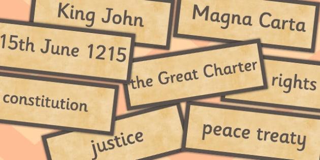 The Magna Carta Word Cards - magma, carta, word cards, cards