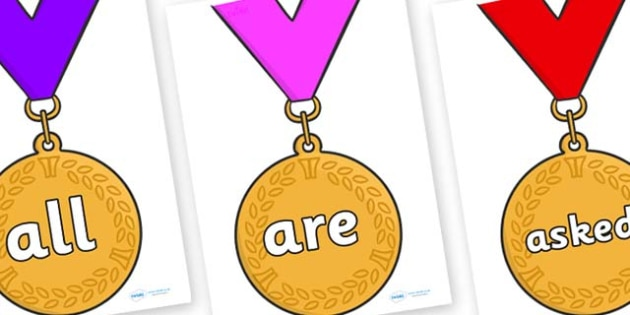 Tricky Words on Gold Medals - Tricky words, DfES Letters and Sounds, Letters and sounds, display, words
