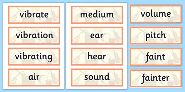 Year 4 Sound Scientific Vocabulary Cards - science, sounds, words