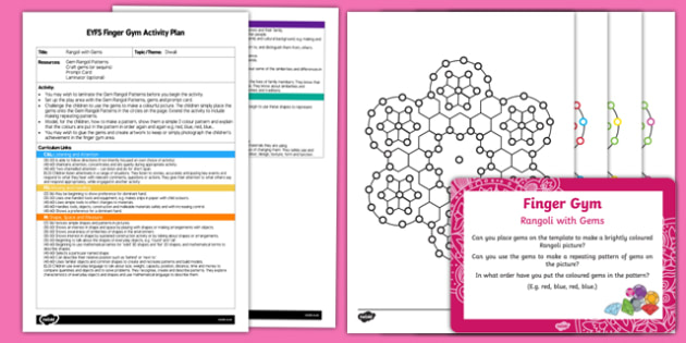 EYFS Rangoli with Gems Finger Gym Plan and Resource Pack
