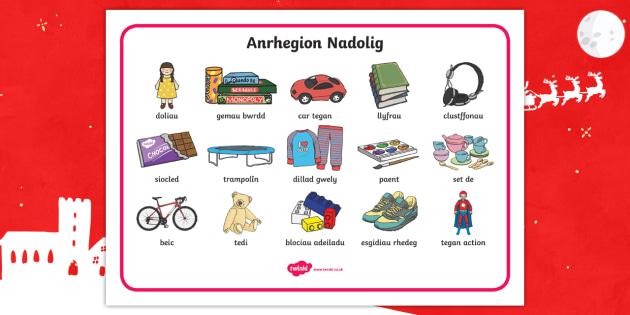 Mat Geiriau Anrhegion Nadolig - Dysgu Cymraeg fel Ail Iaith, Anrhegion Nadolig, llythyr sion corn, mat geiriau,Welsh